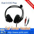 Double 3.5 mm DC Jack Headset for Telephone, 101D Noise Cancelling Mic and 3.5 DC Call Center Headphone