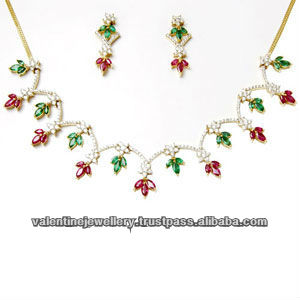 18k women's gold necklace design in emerald and ruby and diamond, multi colored gemstone necklace, designer gold necklace set