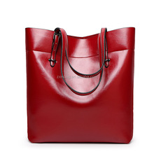 Large Women Red Water Ripple Pattern Genuine Real Leather Tote Bag