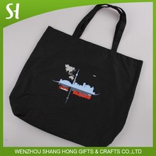 wholesale China custom logo cartoon black canvas cotton shopping shoulder bag for school student library promotion
