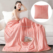 2017 New style super soft colorful coral fleece travel 2 in1 pillow blanket