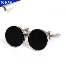 fashion elegant gold plating yin and yang enamel diamond round cufflinks