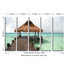 5 pieces seascapa stretched painting canvas