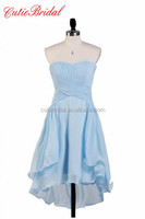Cutiebridal Bridesmaid Gowns Aline Short Chiffon Dress For Bridesmaid Sleeveless Sky Blue Bridesmaid Dresses Short