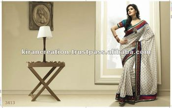 White With Border work designer saree