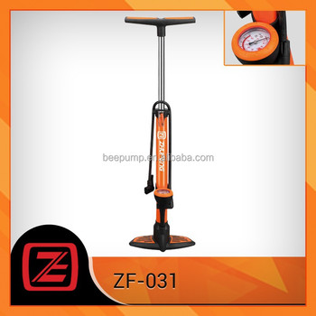aluminium alloy floor pump plastic base with with psi/bar pressure gauge