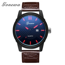 Top Brand Luxury GONEWA Women Dress Leather Strap Watch Men Sport Lovers Quartz Clock China Watch Factory