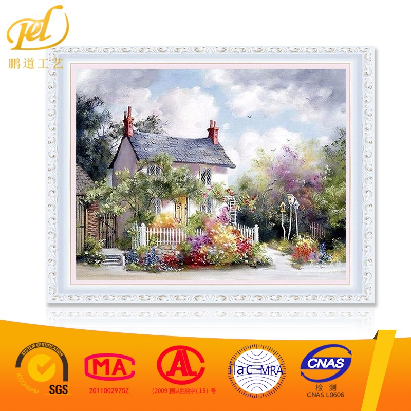 2017 New Style Garden House Flower Handmade Artistic Wholesale Diy Oil Painting <strong>Art</strong> On Canvas By Number for Home & Garden a238