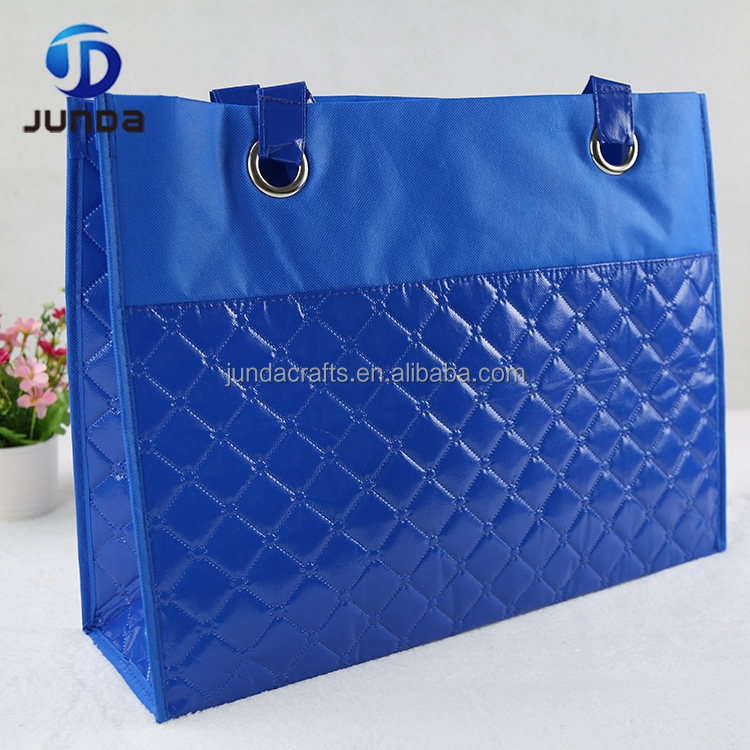 Customized reusable Recycle Eco Zipper embossed PP nonwoven shopping bag