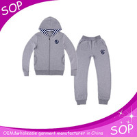 2014 grey zipper hooded jogging suit for girls china supplier