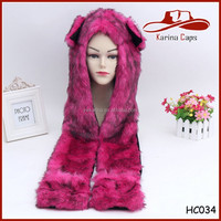 Yiwu New Design Long Soft And Safe Grade Furry Plush Faux Fur Animal Winter Hat Rose Red Hoodie