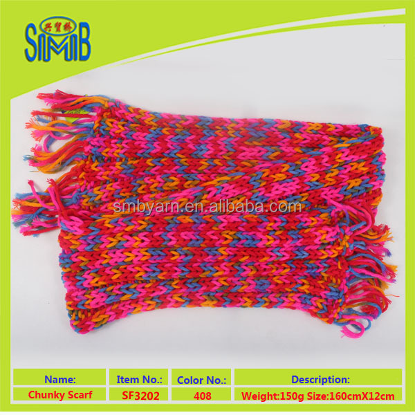 china wholesale 100 acrylic hand knitted winter scarf colorful hand knitting scarf