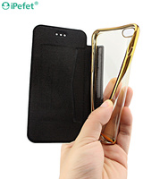 Elegant Ultra Thin Hybrid Flip Leather Clear TPU Case For iPhone 6/s With Card Slots