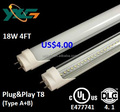 cUL DLC4.1 Listed Compatible Electronic Ballast Series T8 Tube LED Lighting 1200mm 18W Clear&Milky PC Diffuser