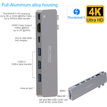 Hot Sell Aluminium alloy 8 In 1 usb hub 3.1 type c adapter 3.1 type c cable for new Macbook