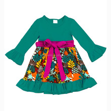 Hot Sale Fashion Fall Winter Ruffle Long Sleeve Cotton Dress Child Smocked Skirt for Infants Clothing Toddler Girls