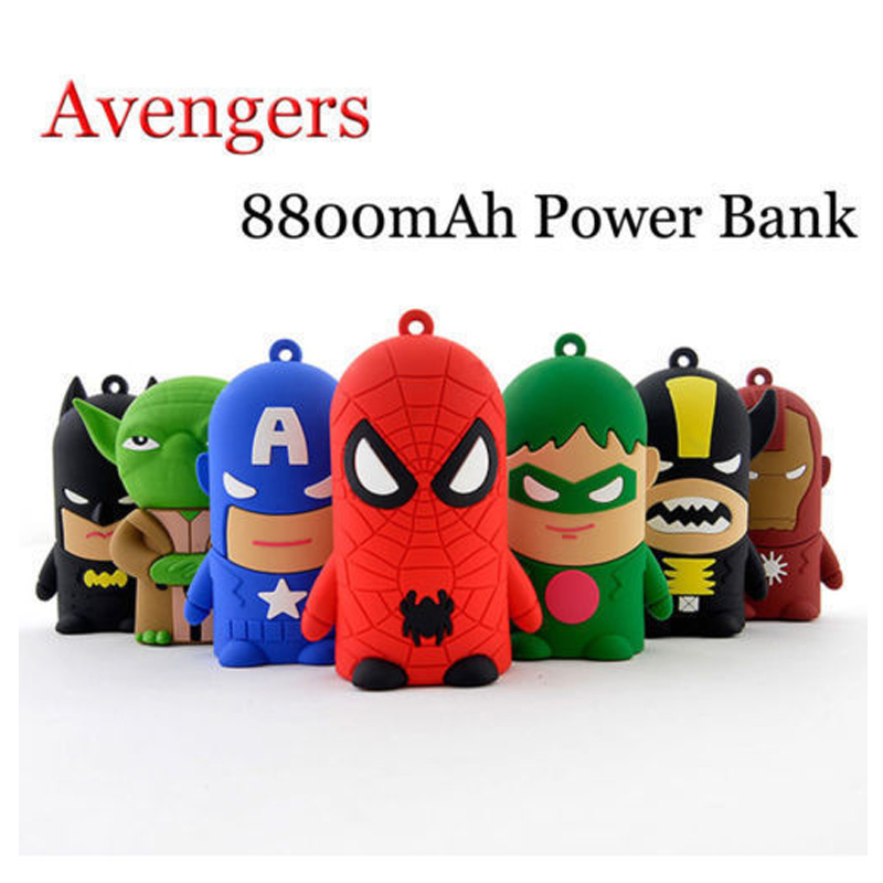 New Super Her Avengers Cartoon Power Bank 8800mah Charger Battery Pack Portable