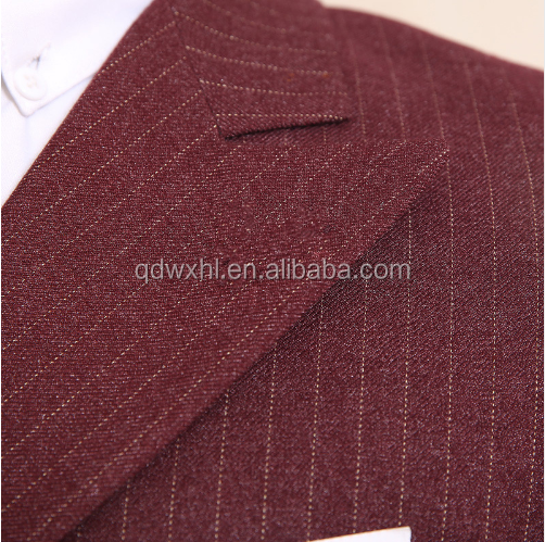 Customize Wine Red Mens Suits For Weddings Italy Fitted Pinstripe Suit Gentle Cotton Blazers 3 piece Mens Dress Suit