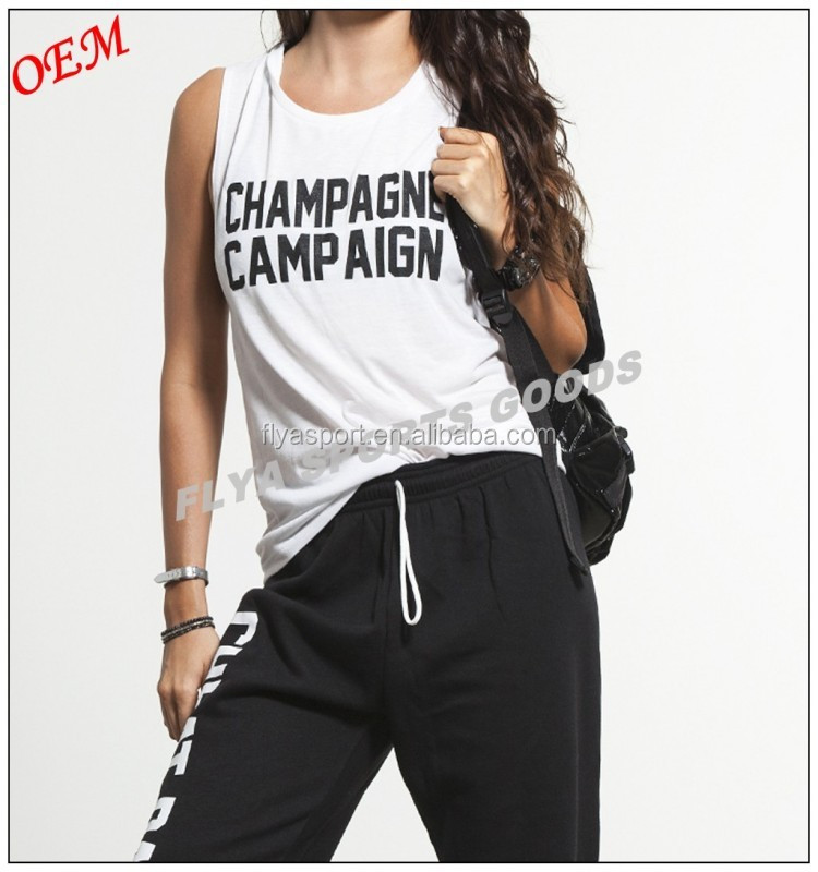 Street-Styling 100% cotton loose fit sleeveless custom gym sport tank top casual style women t-shirt