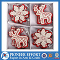 wooden hanging ornament for christmas in red and white color with reindeer snowflake shape