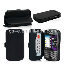 Hot style wallet case for blackberry q10, many color in stock