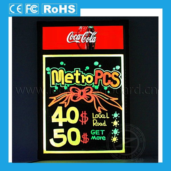 Restaurant types of advertising boards, black light menu board, glowing led menu board