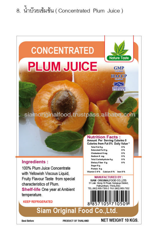 CONCENTRATE PLUM FRUIT JUICE FROM THAILAND