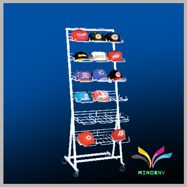 Fast Delivery Flooring Metallic Store Hats Display shelf for Cap Display Holder