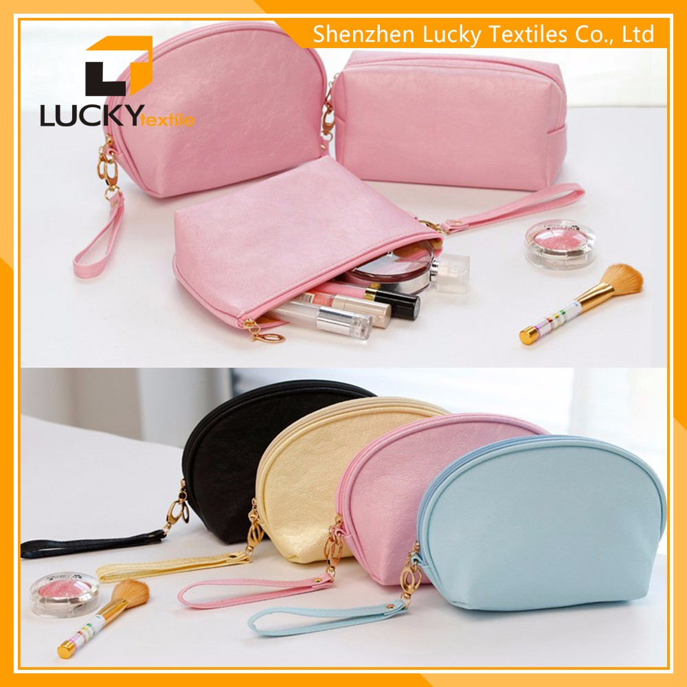 top quality large leather cosmetic bag makeup brush travel case