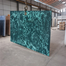 Dark green rutilated pattern artificial quartz stone