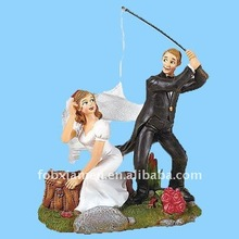 resin humorous wedding sports cake toppers figurine