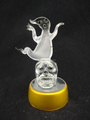 Hand blown glass halloween decoration with ghost and skull