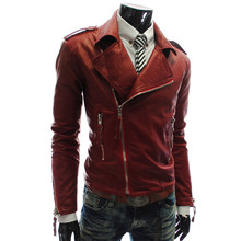 Men's Short Leather Warm Winter Coats Slim Motorcycle Punk Trench Jackets