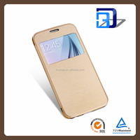 Fashion Caller ID Display Window Leather mobile phone leather case for samsung galaxy s6 wholesale