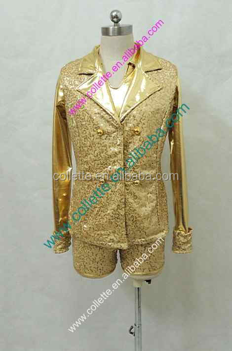2016 New !! MBQ430 Gold sequin lycrial men's long sleeve shirt dance with gold vest
