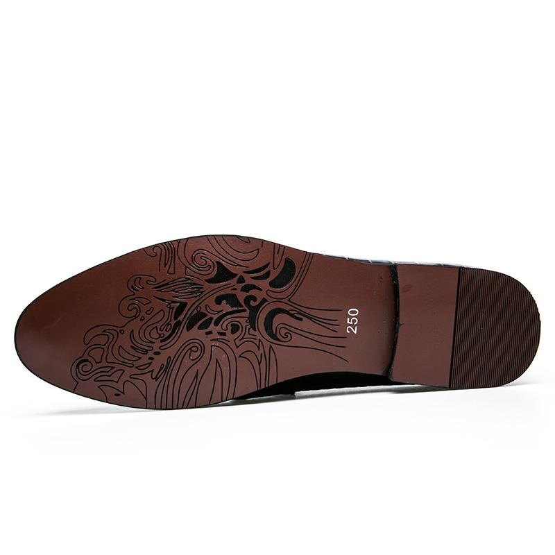men winter italian fashion snake skin brogue leather oxford tassel slip on pointed toe shoes designer male formal cool footwear  (3)