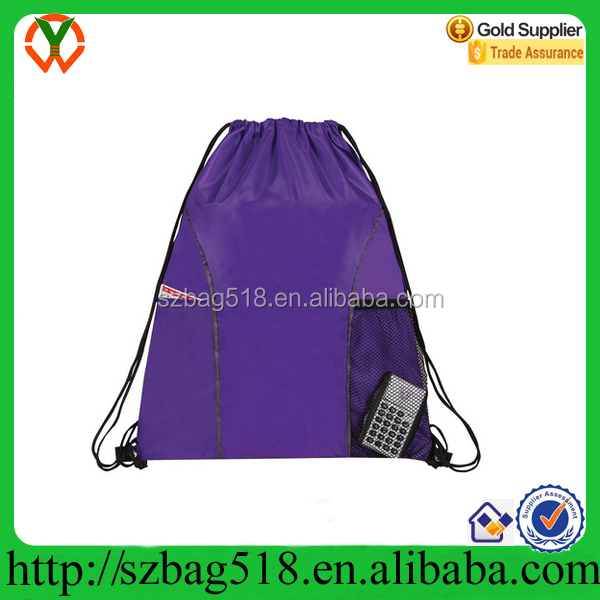 Colored Dual Mesh Pocket Nylon Drawstring Backpack Shopping Bag