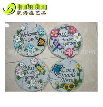 Resin round shape welcome to garden stepping stone