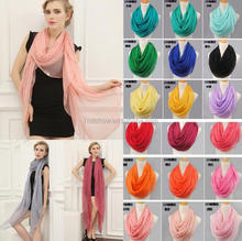 Wholesale Spring Lady Fashion Large Plain Chiffon Silk Scarf