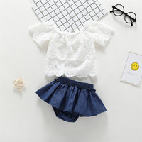 2019 fashion newborn clothes white lace tops+ Denim skirt 2pcs baby girl clothing sets