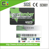 2013new design pvc membership card with barcode