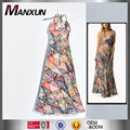 Latest Summer Dubai Styles V Neck Fashion Sexy Casual Ladies Dresses Vintage Printing Patterned Maxi Dress