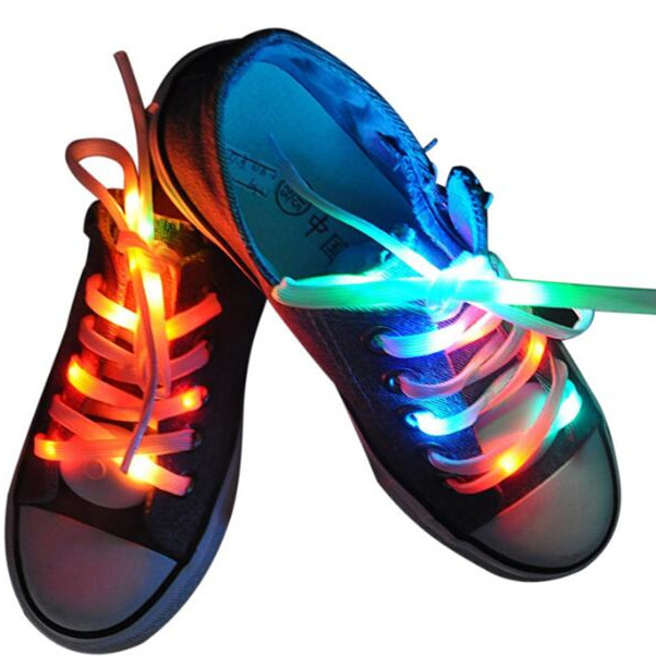 Nylon Strap Shoelace LED Flash Lights Up Glow Luminous Shoe Laces Party Disco Travel Kit New