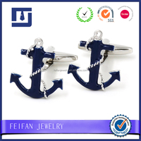 Navy Blue Nautical Cufflinks Sailing Boat Anchor French Shirt Cuff Links Accessories for Men