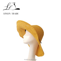 Fashion Ladies beautiful color summer beach holiday paper Wide Brim Bowler straw hat Wholesale