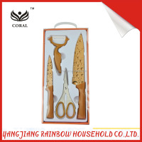 Chinese high quality yellow coating knives set in open box