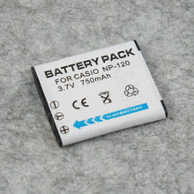 Camera battery replacement for Casio NP-120, 3.7V 750mAh,18 months warranty