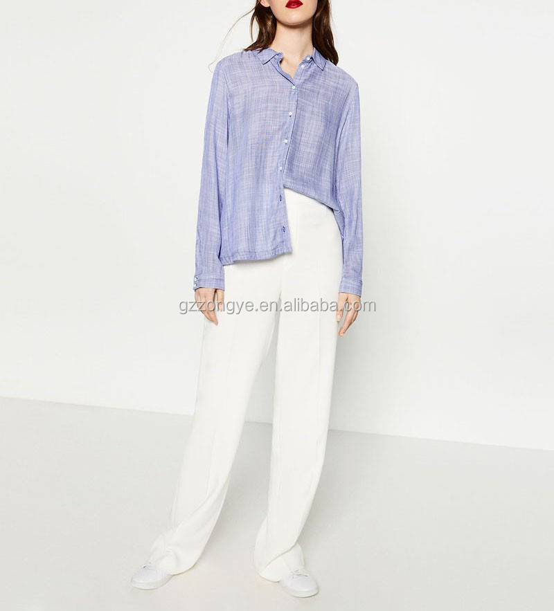Linen fabric spring latest korean ladies tops