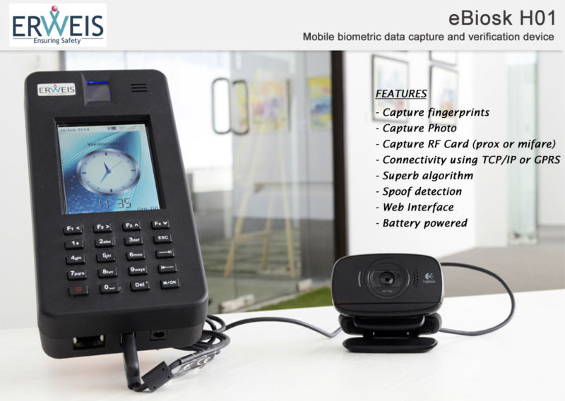 eBiosk - H01: Multifunction Biometric Handheld terminal / Device with Lumidigm Mercury Sensor