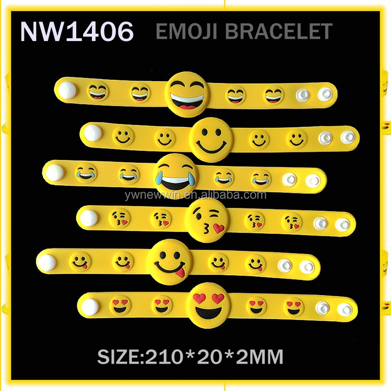 Manufacture very hot -sale rubber softy plastic adjustable emoji wristband.